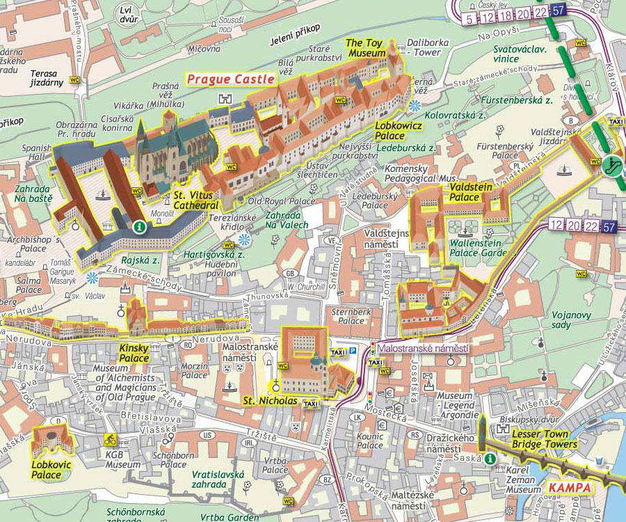 Mapa Mapa Prahy S Pamatkami